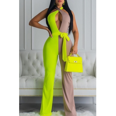 Lovely Sexy Patchwork Hollow-out Green One-piece  Jumpsuit