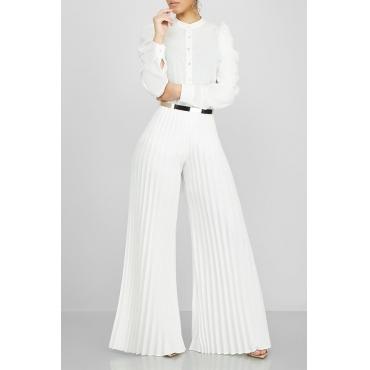 Lovely Stylish High Waist White Pants(Without Belt)