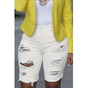 Lovely Trendy Broken Holes White Shorts