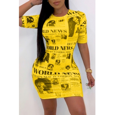 Lovely Casual O Neck Letter Printed Yellow Mini Dress