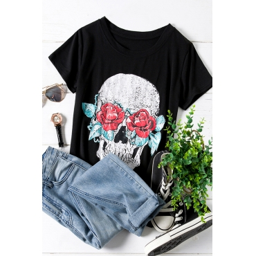 Lovely Casual O Neck Skull Printed Black Plus Size T-shirt