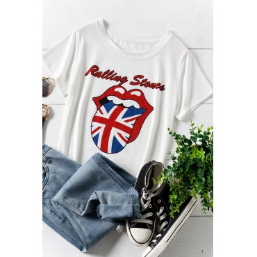 Lovely Independence Day Casual O Neck Lip Printed White Plus Size T-shirt