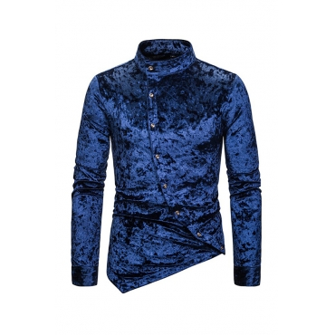 Lovely Casual Asymmetrical Blue Shirt