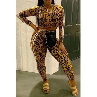 Lovely Casual Hooded Collar Leopard Printed Two-piece Pants Set