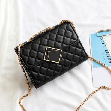 Lovely Fashion Chain Strap Design Black Crossbody Bag