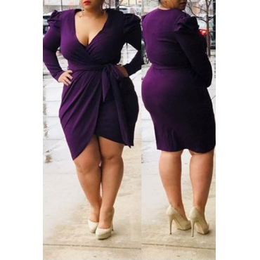 Lovely Casual V Neck Lace-up Purple Mini Plus Size Dress