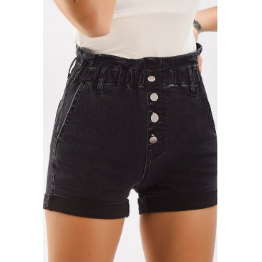 Lovely Casual Buttons Design Black Shorts