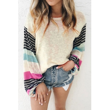 Lovely O Neck Patchwork Apricot Sweaters