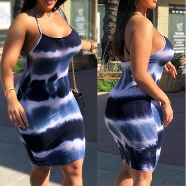 Lovely Casual Spaghetti Straps Printed Blue Knee Length Dress