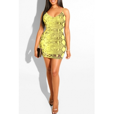 Lovely Trendy Snakeskin Printed Yellow Mini  Dress