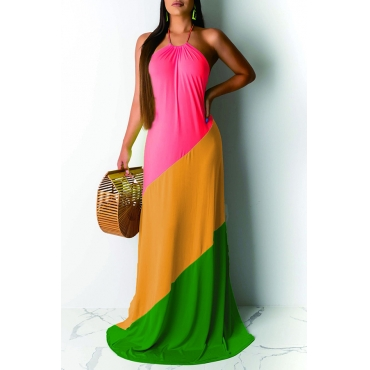 Lovely Casual Off The Shoulder Patchwork Pink Floor Length Dress