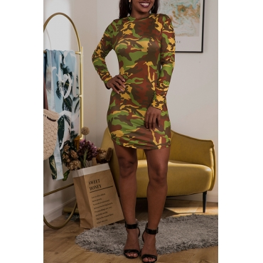 Lovely Casual Camouflage Printed Mini Dress