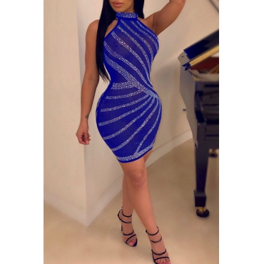 Lovely Casual Sleeveless Hot Drilling Decorative Blue Mini Dress