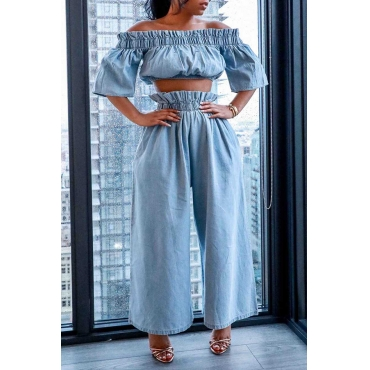 Lovely Casual Draped Design Baby Blue Two-piece Pants Set