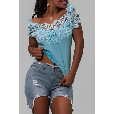 Lovely Casual Off The Shoulder Patchwork Blue Blouse