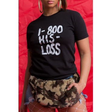 Lovely Casual O Neck Letter Printed Black T-shirt