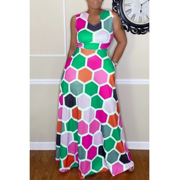 Lovely Casual Sleeveless Printed Green Floor Length Dress