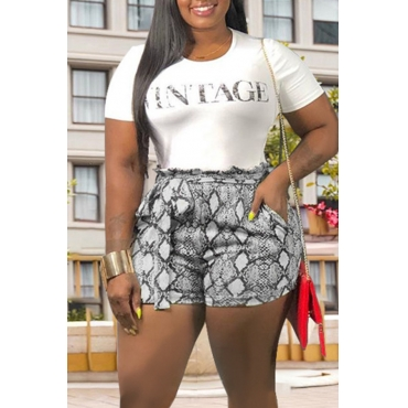 Lovely Trendy O Neck Letter Printed White Two-piece Shorts Set