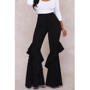 Lovely Chic Flounce Design Black Pants