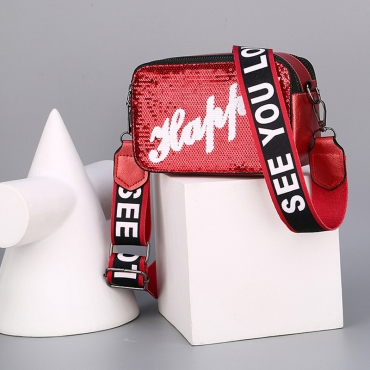 Lovely Fashion Letter Printed Red PU Crossbody Bag