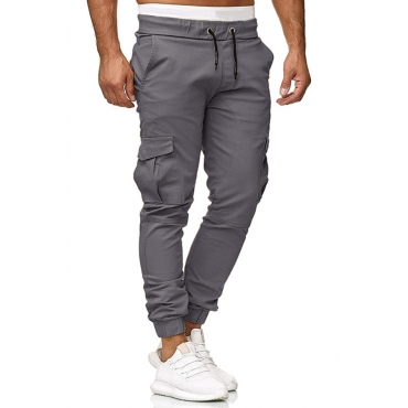 Lovely Casual Pockets Design Grey Pants