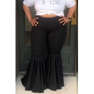 Lovely Casual Flounce Design Black Plus Size Pants