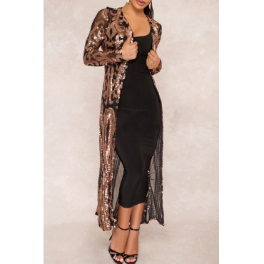 Lovely Casual See-through Black Sequined Long Coat