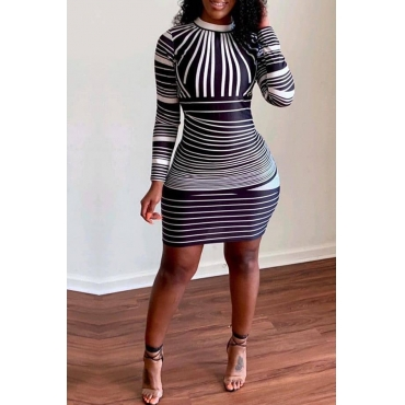 Lovely Trendy Striped Black Dress