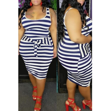 Lovely Casual Striped Blue Knee Length Plus Size Dress