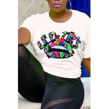 Lovely Casual Lip Printed White T-shirt