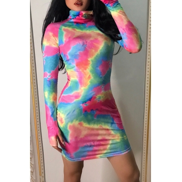 Lovely Casual Turtleneck Printed Multicolor Mini Dress