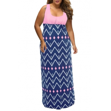 Lovely Casual Geometric Printed Floor Length Plus Size Dress