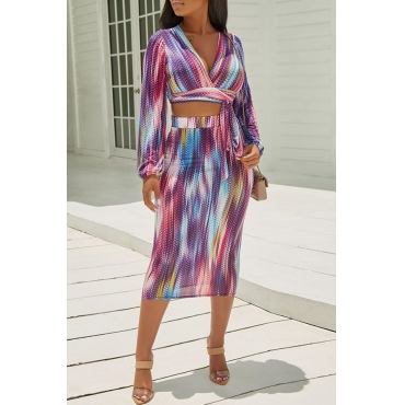 Lovely Casual V Neck Printed Multicolor Two-piece Skirt Set