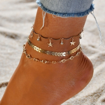 Lovely Trendy  Cascading Gold Alloy Anklet