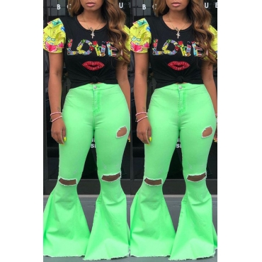 Lovely Casual Mid Waist Broken Holes Green Pants
