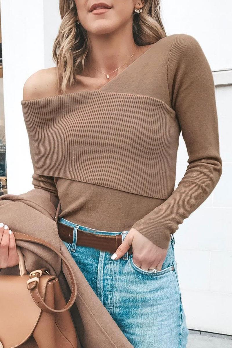 Lovely Cross-over Design Khaki Sweaters