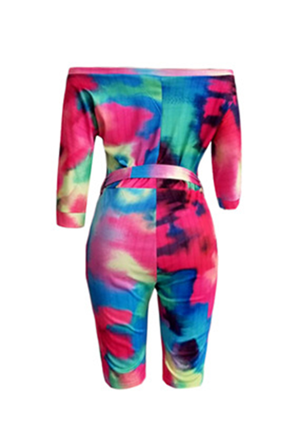 Lovely Casual Off The Shoulder Tie-dye Printed Multicolor One-piece Romper