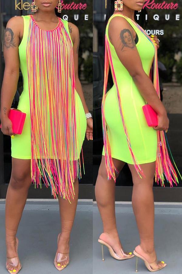 Lovely Casual Tassel Design Green Mini Dress