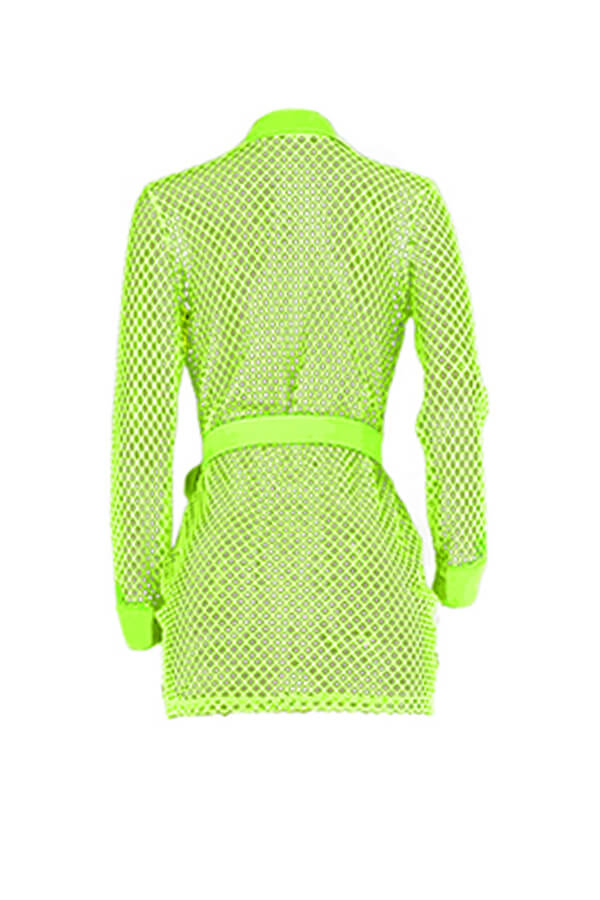 Lovely Sexy Turndown Collar Hollow-out Green Mini Dress
