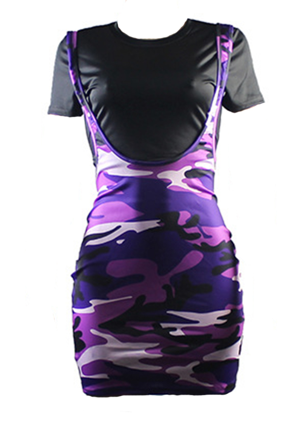Lovely Casual Camouflage Printed Black Two-piece Skirt Set