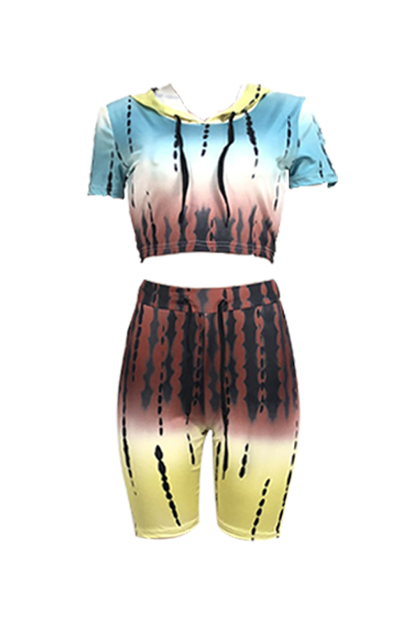 Lovely Casual Hooded Collar Printed Yellow Two-piece Short Set