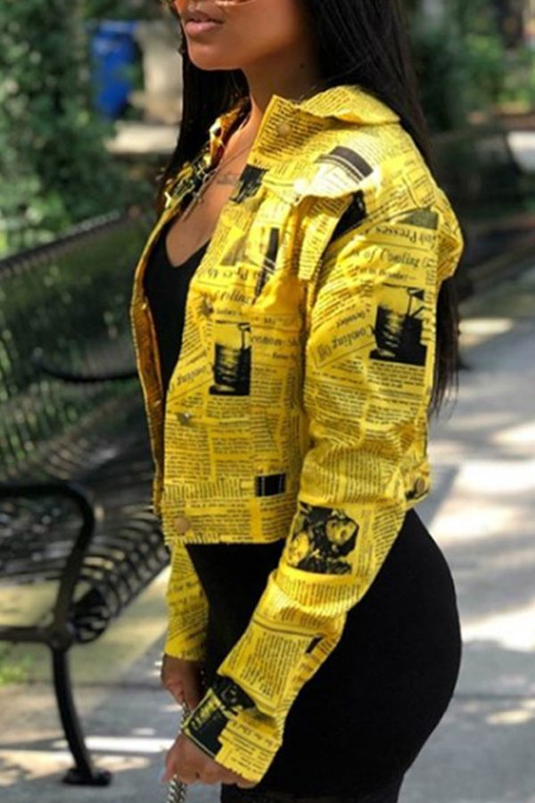 Lovely Leisure Letter Printed Yellow Coat