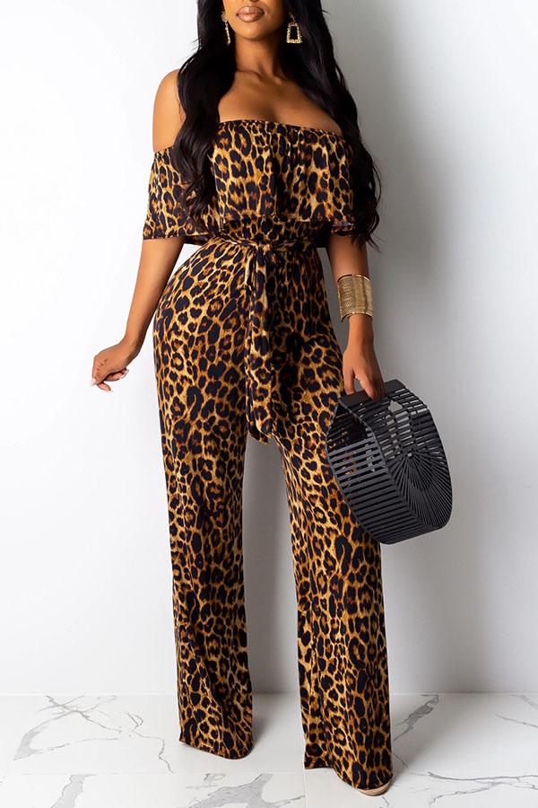 Lovely Work Dew Shoulder Leopard Printed One-piece Jumpsuit