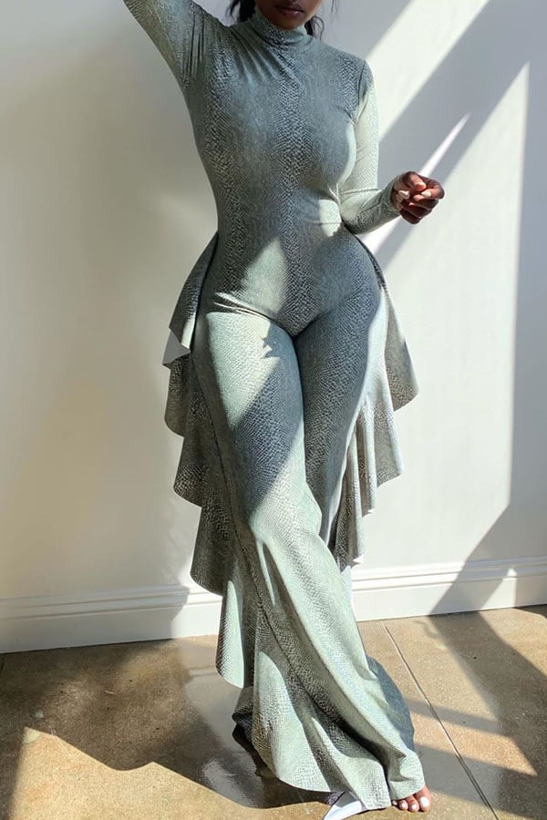 Lovely Trendy Flounce Design Grey One-piece Jumpsuit