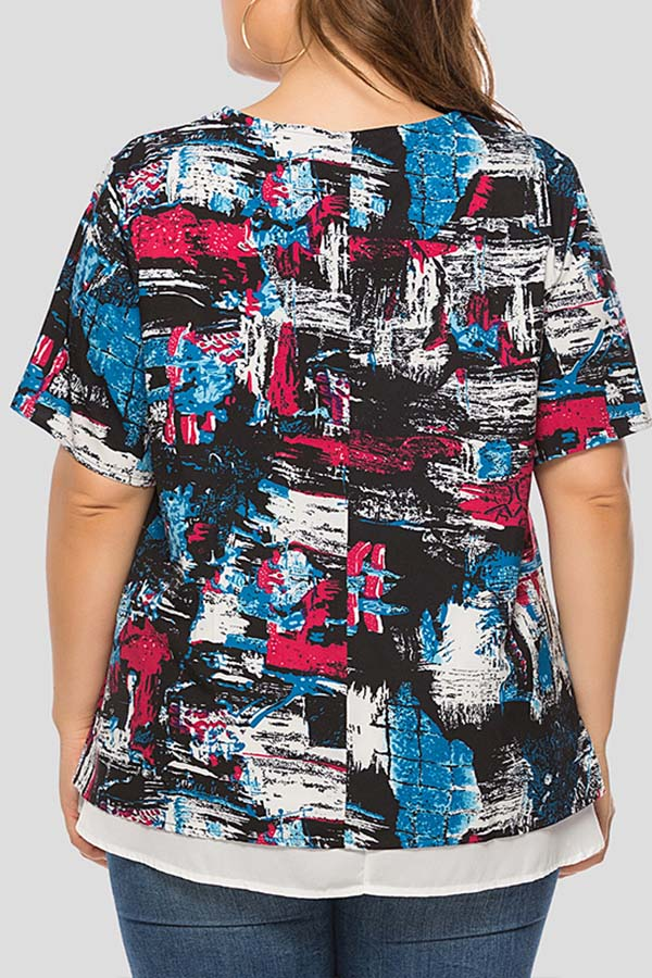 Lovely Casual Printed Red Plus Size T-shirt