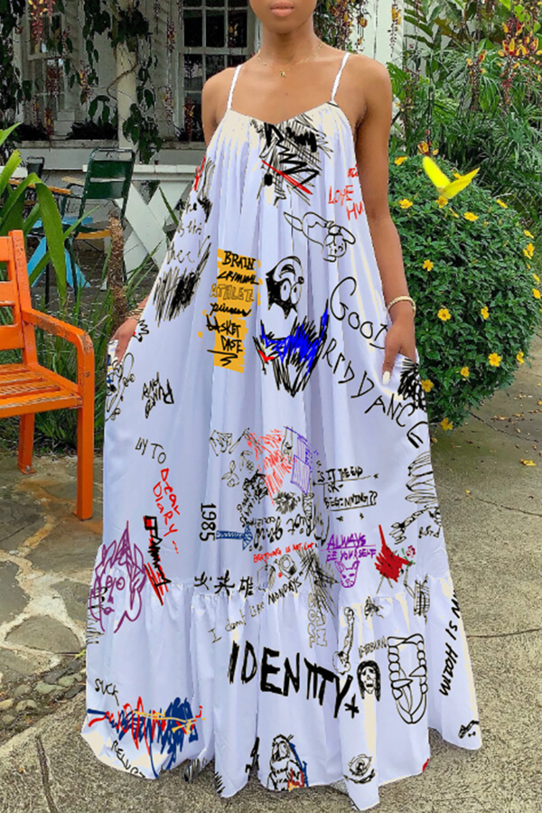 Lovely Casual Spaghetti Straps Printed White Floor Length Dress(Batch Print)
