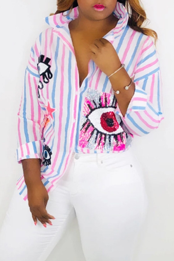 Lovely Trendy Striped Printed Light Pink Blouse