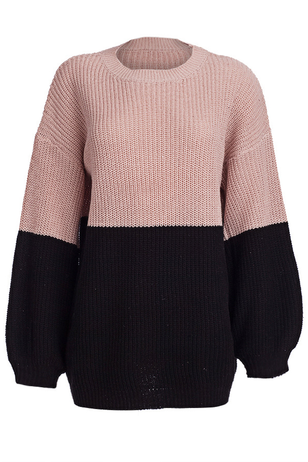 Lovely Casual Patchwork Light Pink Sweaters