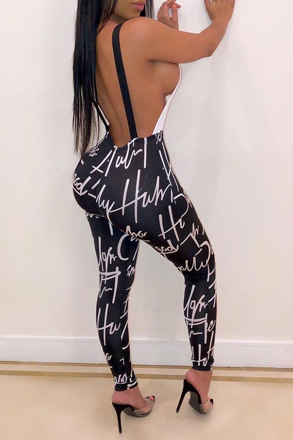 Lovely Chic Hollow-out Black And White One-piece Jumpsuit