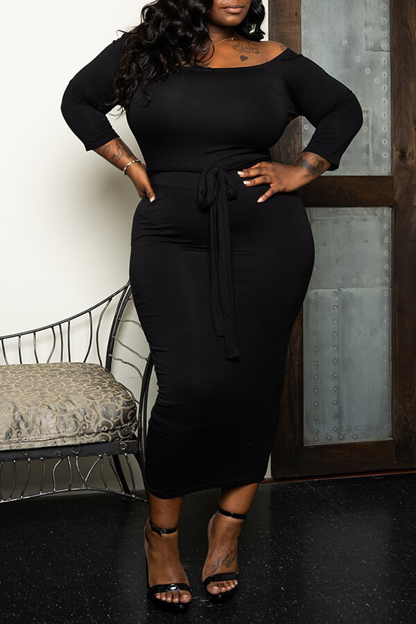 Lovely Casual Dew Shoulder Black Mid Calf Dress